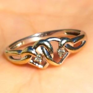 10k Solid White Gold Diamond Double Heart Ring